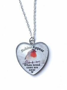 Robins Appear Necklace Ladies Christmas Gift Heart Jewellery Robin Bird Present