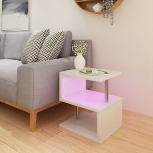 Furniture High Gloss 2 Tier Side Coffee Table With RGB LED Light Living Room