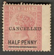 AOP Mauritius QV Queen Victoria 1877 1/2d on 10d overprinted CANCELLED unused