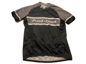 Men's Pearl Izumi Cycling Jersey Size M Black Gray 3/4 Zip Back Pockets