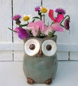 Ceramic Vase Owl Pot Vase Toothbrush Pen Holder Great Gift 10cm