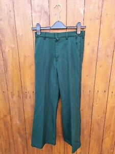 Green Flares 70's Bell Bottoms 26/27 Inch Waist Trousers Northern Soul