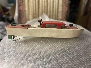 vintage wooden Wind Up Boat  toys