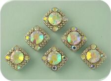 2 Hole Beads Gala Aurora Borealis/AB Swarovski Crystal Elements ~Sliders ~ QTY 6