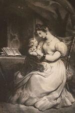 """Lithographie originale 1829 Achille Devéria """"La première prière"""" Romantisme"""