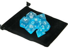 Wiz Dice 7 Die Polyhedral Set Sea Glass Frosted Translucent Blue With Dice Bag