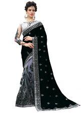 Silk Designer Embroidery Sari for Indian Ethnic Wedding Party wear Saree (K710)