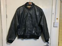 VINTAGE CHEVIGNON DISTRESSED LEATHER MOTORCYCLE JACKET SIZE L
