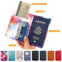 Pattern Checkered Passport Holder Cover Travel Wallet RFID Blocking Card Case