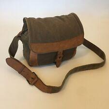 LL Bean Vintage Shoulder Messenger Bag Khaki Canvas Leather Trim Travel