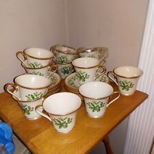 Lenox Christmas Holiday Holly Footed  Coffee Cup and Saucer Set of 12