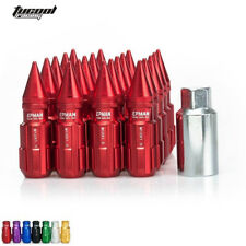 Lug Nuts With Spikes 20pcs 12x1.5 W/Key Universal Fit For Honda Civic Toyota Red