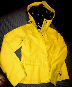 ABERCROMBIE KIDS Unisex Hooded Raincoat Rain Coat Jacket Bright Yellow Size Med