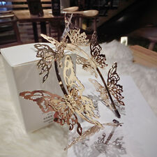 Stereo Gold Butterfly Baroque Headband Wedding Bridal Crown Headpiece Tiaras New