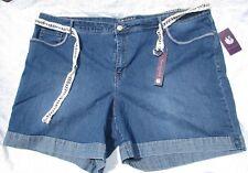 Gloria Vanderbilt SHORTS plus size 23W 24W Denim Blue tan silver Summer New