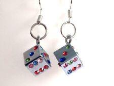 CRYSTAL DICE EARRINGS kawaii gamer cute quirky cool earrings rainbow coloured si