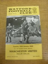 28/01/1969 Watford v Manchester United [FA Cup Replay] (Folded, Team Changes).