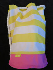 """Clinique Yellow White Pink Tote Beach Bag with White Rope Straps  18"""" x 11"""""""