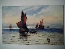 Boats at Sea off Eastbourne Old Postcard Raphael Tuck Aquarette Art Postcard