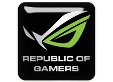 """Asus Republic of Gamers ROG Green 1""""x1"""" Chrome Domed Case Badge / Sticker Logo"""