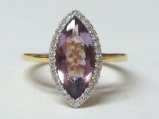 Marquise Amethyst and Diamonds ring 18ct yellow gold rrp £1495