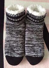 Victoria's Secret Pink Sherpa Lined Gray Marl Black White Slipper Socks - *OS