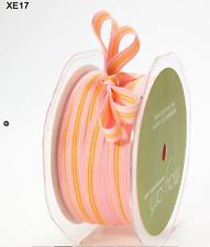 "3/8"" Grosgrain Striped Ribbon – May Arts - XE17 Yellow/Pink - 50 Yds"