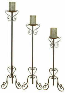 Wrought Iron Rustic Unique Style Floor Candle Holders Black Powder Coated