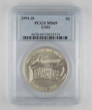 MS69 1991-D USO Commemorative Silver Dollar Grade PCGS *140
