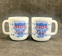 2 Vintage Milk Glass Bicentennial Coffee Mug USA 1776 1976 Glasbake America