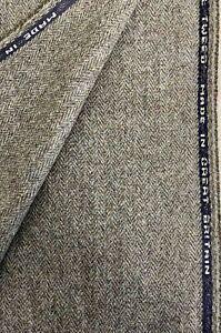 """Brown/Green Herringbone """"Meadow"""" 100% Wool Tweed Fabric. Sold By The Metre"""