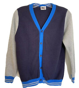 Hanna Andersson Boys Sweater Size 140 10 Cotton Cardigan Blue Gray Elbow Patches