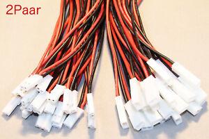 2 Paar JST BEC Stecker Buchse 17cm 22AWG Kabel 2 Pin RC Adapter Connector Neu