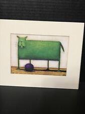 Daniel Kessler Green Cat Square Pets Matted Art Print