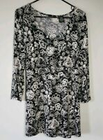 Apostrophe' 16/18 Black and White Floral Tunic Top Blouse 3/4 Sleeve