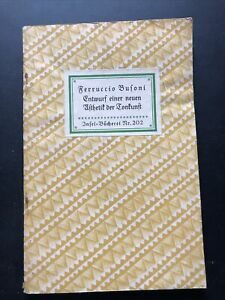 Insel-Bücherei 202 Ferruccio Busoni Entwurf einer neuen Ästhetik d Tonkunst 1941