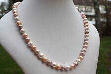 A19B 51cm Natürliche Süßwasser Perlen Schmuck Halskette Perlenkette Collier neu