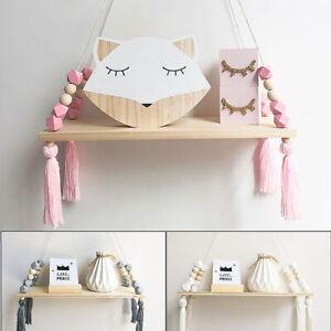 Display Wood Wall Shelf Shelves Hanging Rack Kids Storage Room Decor