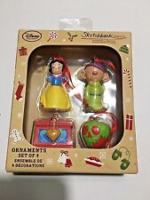 Snow White Dopey Apple Chest Ornaments Set 4 Christmas Sketchbook Collectors
