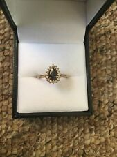 Hallmarked 375 9ct Yellow Gold Sapphire Cluster Ring Size:L