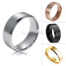 8MM Titanium Men Women Stainless Steel Band Brushed Wedding Ring
