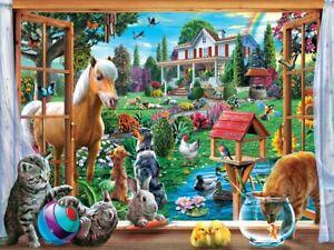 Jigsaw Puzzle Landscape Peeking Through an Open Window 400 multisized pieces NEW