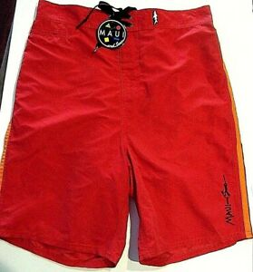 """Men's Maui and Sons Swim Trunks/ Board Shorts """"GREECE RED""""  Size 32 NEW w/ TAGS"""