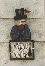 Pattern- Wooden Snowman Sign-Waiting For Winter-Wood & Paint-Heart -N- Home