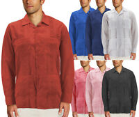 Men's Guayabera Button Up Casual Cuban Embroidered Long Sleeve Cuban Dress Shirt
