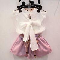 2PCS Kids Toddler Baby Girls Outfits Clothes Bowknot Tops Shirt+Shorts Pants Set
