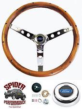 "1963-1964 Fairlane Galaxie steering wheel BLUE OVAL 15"" CLASSIC WALNUT"