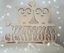 Plywood Owls Wedding, anniversary,engagement cake topper decorations