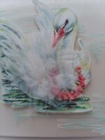 UNUSED Vtg Feather SWAN Happy BIRTHDAY Little Ones GREETING CARD w Envelope