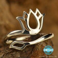 Lotus Flower Yoga Namaste Adjustable Ring - Sterling Silver .925 or Gold Bronze